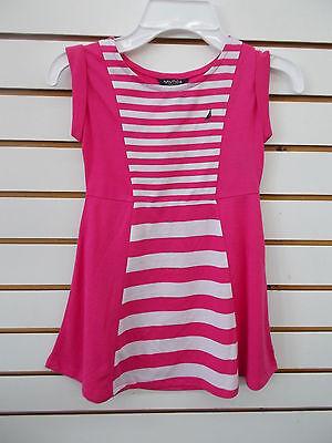 Girls Nautica $34.50 Fuchsia & White Striped Dress Size 4 - 6X