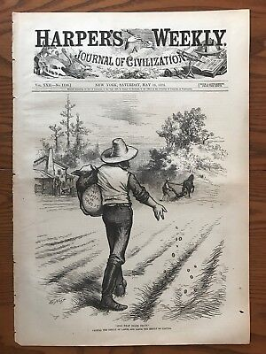Thomas Nast  Sowing Seeds  Capital  Labor  Antique Wood Engraving  1878
