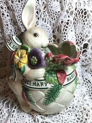 Fitz and Floyd Herb Garden Rabbit Water Pitcher Vase Centerpiece Easter Table!