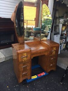 Vintage waterfall vanity and stool