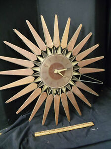 Vintage Seth Thomas Sputnik starburst Wall clock  Walnut and Metal Mid Century