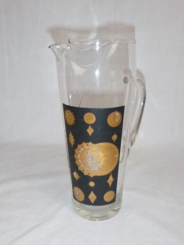 Vtg Mid Century Cocktail Pitcher Gold Black Starburst Design
