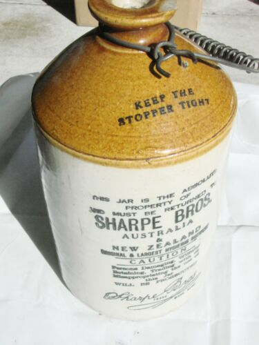 Vintage  Pottery Brewery Demijohn Jar Jug Wire Handle  Sharpe Bros. Australia