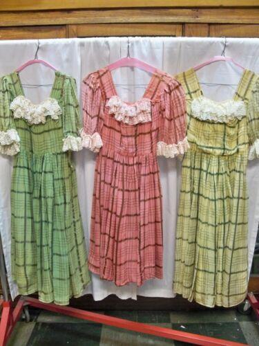 "Lot of 3 ""Brigadoon"" Plaid style Dance dresses, 1940-50"