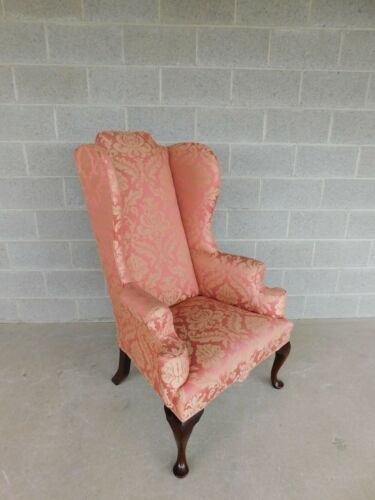 Vintage High Back Chippendale Style Wing Back Arm Chair