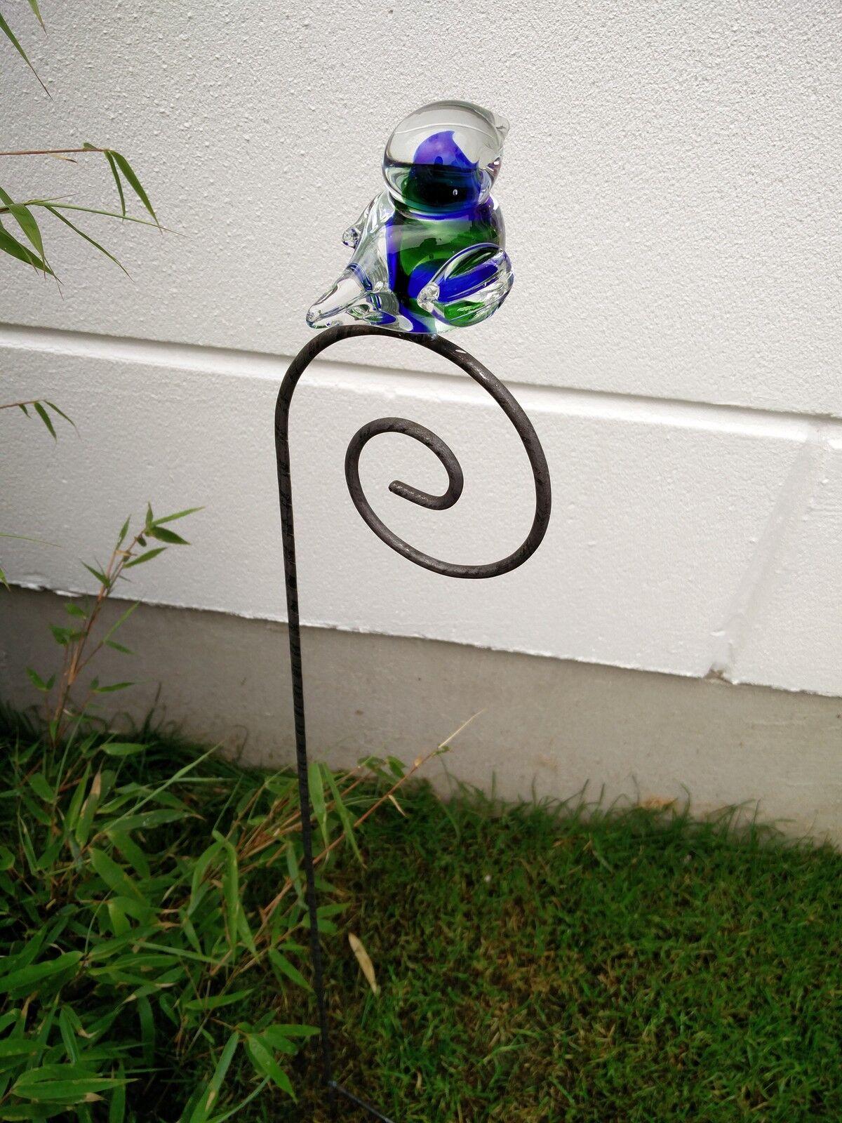 Gartenstecker garten vogel edelrost glasvogel glasdeko for Garten edelrost