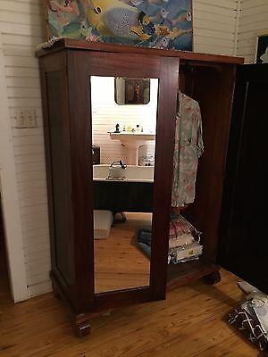 Vintage  Armoire wardrobe cabinet with  mirror 1930s