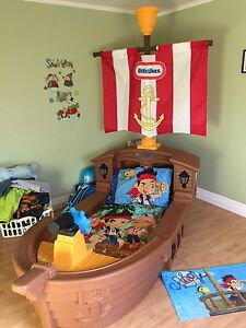 Little tikes pirate ship bed and bedding