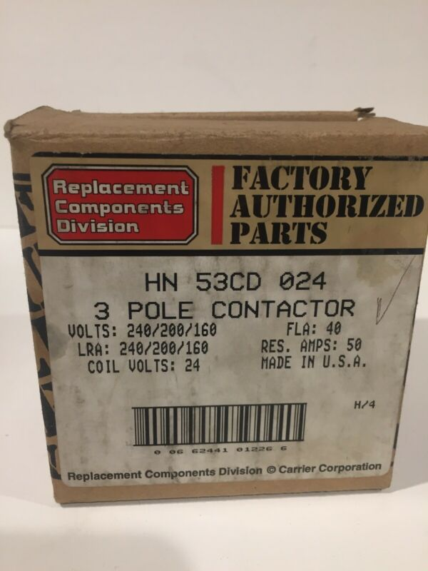 CARRIER HN53CD024  3-Pole Contactor Relay  Coil 24VAC    (20933)