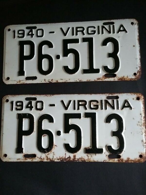 Vintage1940 Virginia Car License Plate Set (Last Pair)