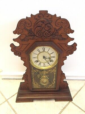 Antique Waterbury Kelso 8 day Time Strike Kitchen Shelf Mantel Clock BIN$120
