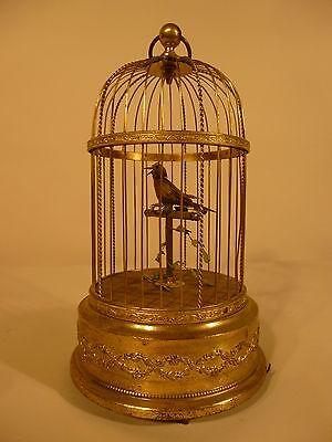 BONTEMS, GRIESBAUM ERA: ANTIQUE SINGING BIRD AUTOMATON IN GILDED CAGE