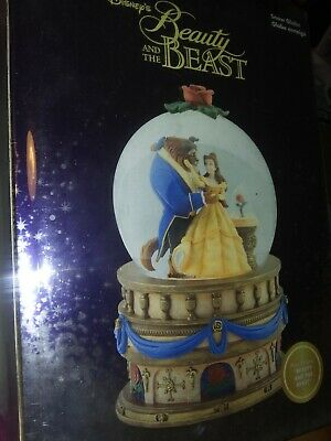 """Disney's Beauty And The Beast 10"""" Tall Snow Globe From The Disney Store NEW"""