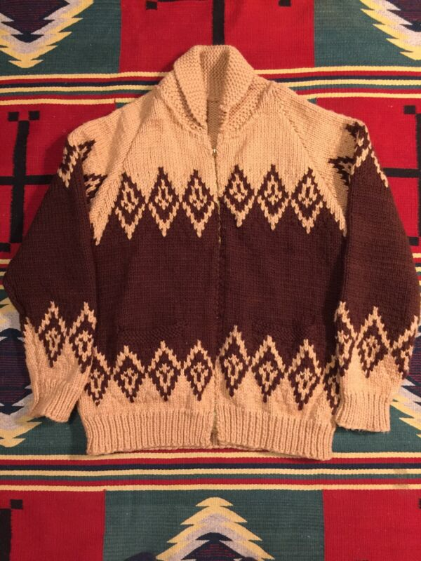 Vintage Hand Knit Nordic Cowichan Shawl Collar Sweater Cardigan Large!!!