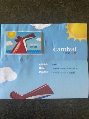 1000 Carnival Cruise Gift Card - $961.00