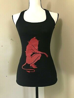Bozzolo Women's Tank Top Cami Black Ribbed Red SHE-DEVIL Graphic sz M Red Black Womens Tank Top
