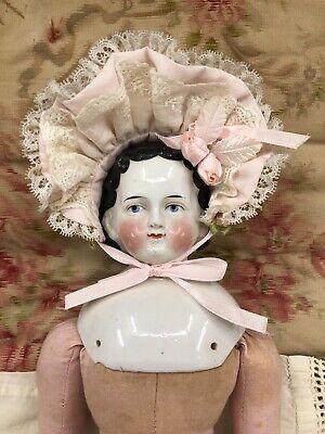 Vintage Doll Antique Bisque Composition China Bonnet Fashion Baby Hat