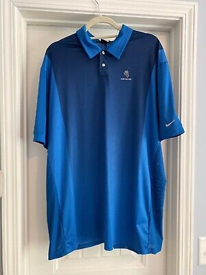 NIKE Tiger Woods Collection XL Dri-Fit Blue VENTED Polo Golf Shirt Honours Cup