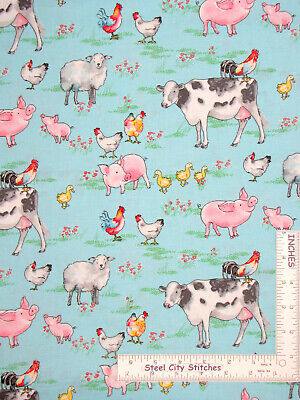Farm Animal Cow Sheep Pig Duck Chicken Aqua Cotton Fabric Traditions By The Yard