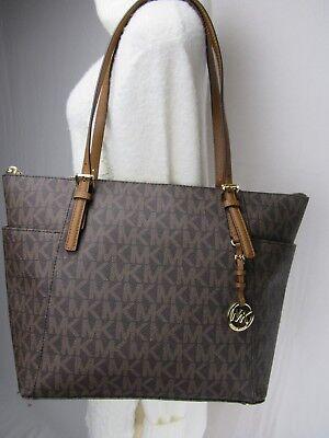 NWT Michael Kors PVC Jet Set Item EW Top Zip Tote Bag Brown/Luggage MK Signature