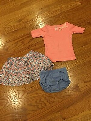 Carters toddler girls pink and blue floral skirt with pink shirt sz 12 months
