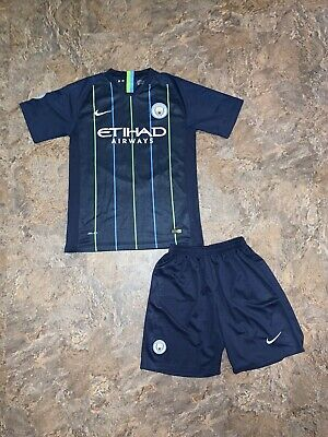 Authentic 2018 Manchester City Etihad Airways Nike Soccer Jersey Shorts Set XL image