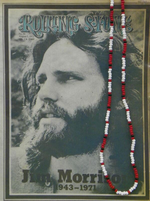 "30"" Jim Morrison Style Handmade Bead Necklace Orig. Red White Black The Doors"
