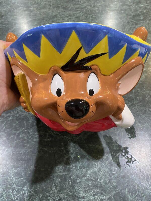 Vintage 1999 Warner Bros Speedy Gonzalez Glass Dip Chip Salsa Party Bowl *RARE*