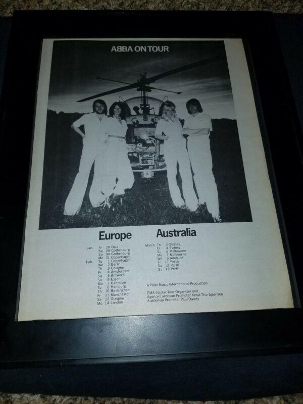 ABBA Europe Australia Tour Rare Original Promo Poster Ad Framed!