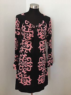 INC Shift Dress M Keyhole Long Sleeve Black Pink Floral Paisley Jersey Ruffle