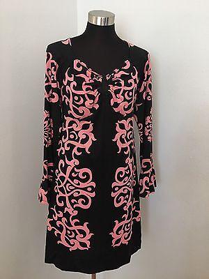 INC Shift Dress M Keyhole Long Sleeve Black Pink Floral Paisley Jersey Ruffle