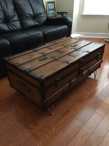 Antique Steamer Trunk - WOOD REFINISHED- large Coffee Table