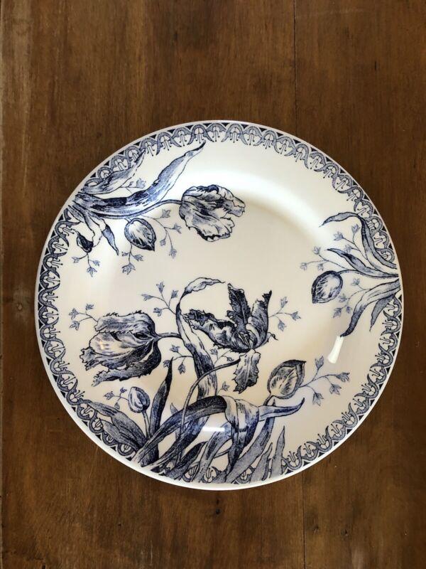 """3 Gien Tulipes Bleu Tulips Blue Dinner Plate Smith & Hawken 10 3/4"""" - Set Of 3"""