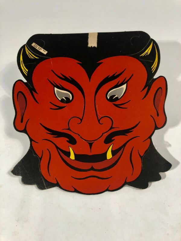 Vintage Die-Cut BEISTLE DEVIL Mask, HALLOWEEN Decoration || Vintage Holiday Deco