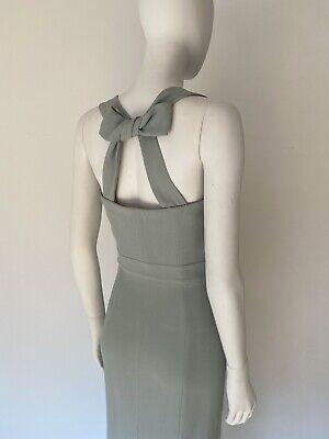 BURBERRY Prorsum Mint Green Crepe Rare Bow Back Cocktail Evening Dress Size 36