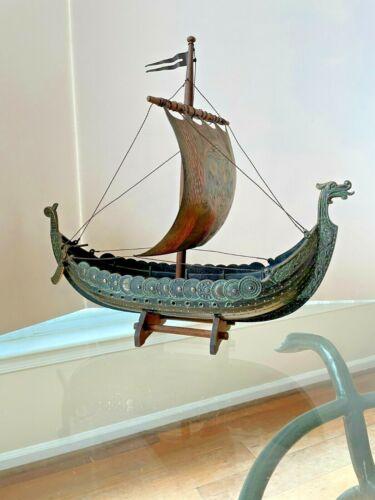 Vintage Bronze Viking Dragon Ship Edward Aagaard IRON ART Copenhagen