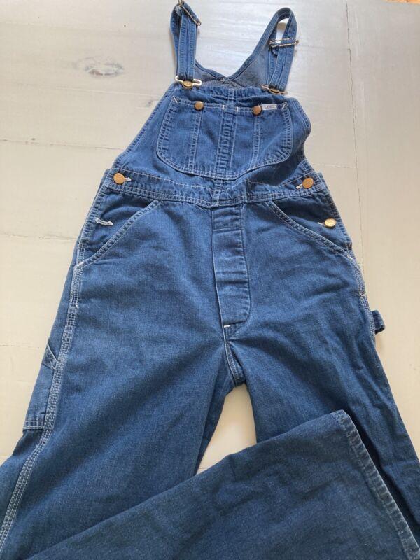 "LEE Vintage Mens/Unisex Denim Jeans Bib Overalls Made in USA Aprrox:29""X33"""