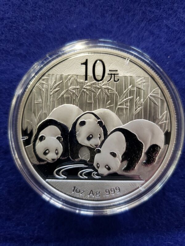 2013 Chinese Silver Panda 1 troy ounce .999 Fine Silver 10 Yuan in mint capsule