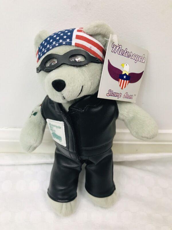 "Motorcycle Stamp Bear 9"" Plush Stuffed Toy USPS Timeless Toys 2003 USA"