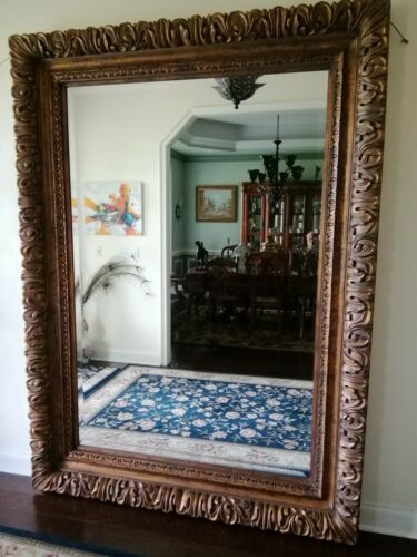 "Beautiful Wall/ Floor Huge Large Mirror Framed Decorative Beveled  90""x 65""x6"""