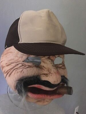 Be Something Special BYBY Latex Mask Vtg 90s Halloween Creep W Trucker HAT Cigar