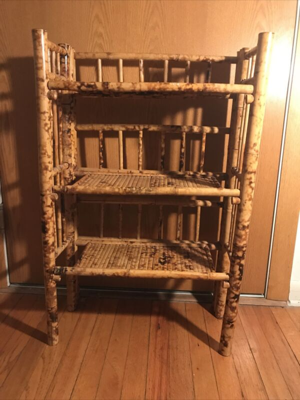 Antique Vintage Bamboo Folding Bookcase Three Shelves Great Condition