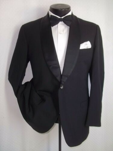 Black Label Brooks Brothers Black 1Buttons Wool Vintage Tuxedo Jacket, Coat 40 R