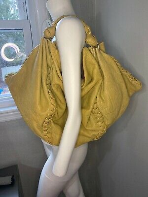 new without tags Italia Le Borse Mustard Leather Handbag Purse Tote Bag $690