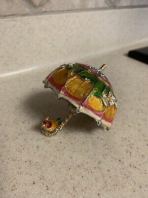 Bird On Floral Enamel Umbrella Crystal Figurine Trinket Jewelry -