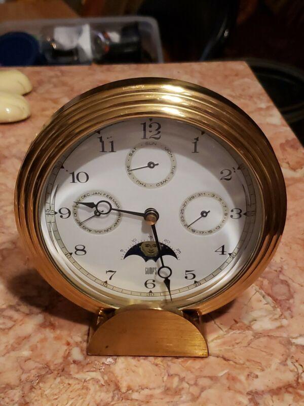 Gumps Hermle Quartz Desk Alarm Clock Moon Phase Date Month German Movement Brass