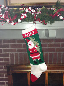 Hand Knit personalized christmas stockings santa vintage Santa with tree sequins