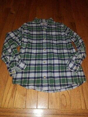 Boys Plaid Flannel - HANNA ANDERSSON 130 Boys green gray navy Plaid FLANNEL Button up SHIRT Size 8 Yr