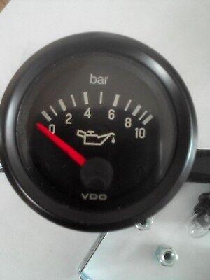 VDO Vision Oil Pressure Clock Lorry Black Face Dial 0-10Bar 12 Volt 350 030 004