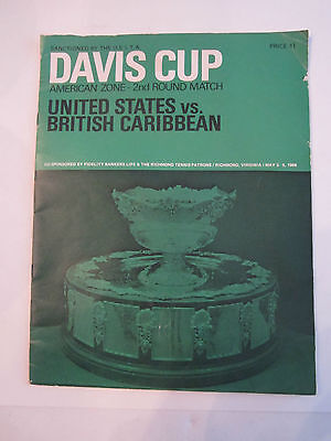 1968 Davis Cup Souvenir Program   U S  Vs  British Caribbean   Tub Aba